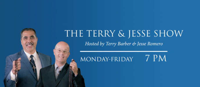 The Terry and Jesse Show airs Monday thru Friday at 7 PM Eastern time